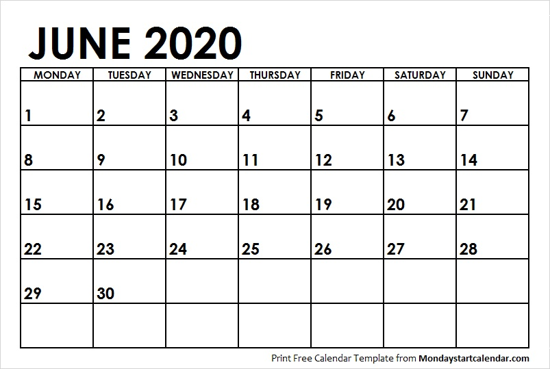 June Calendar 2020 with Notes