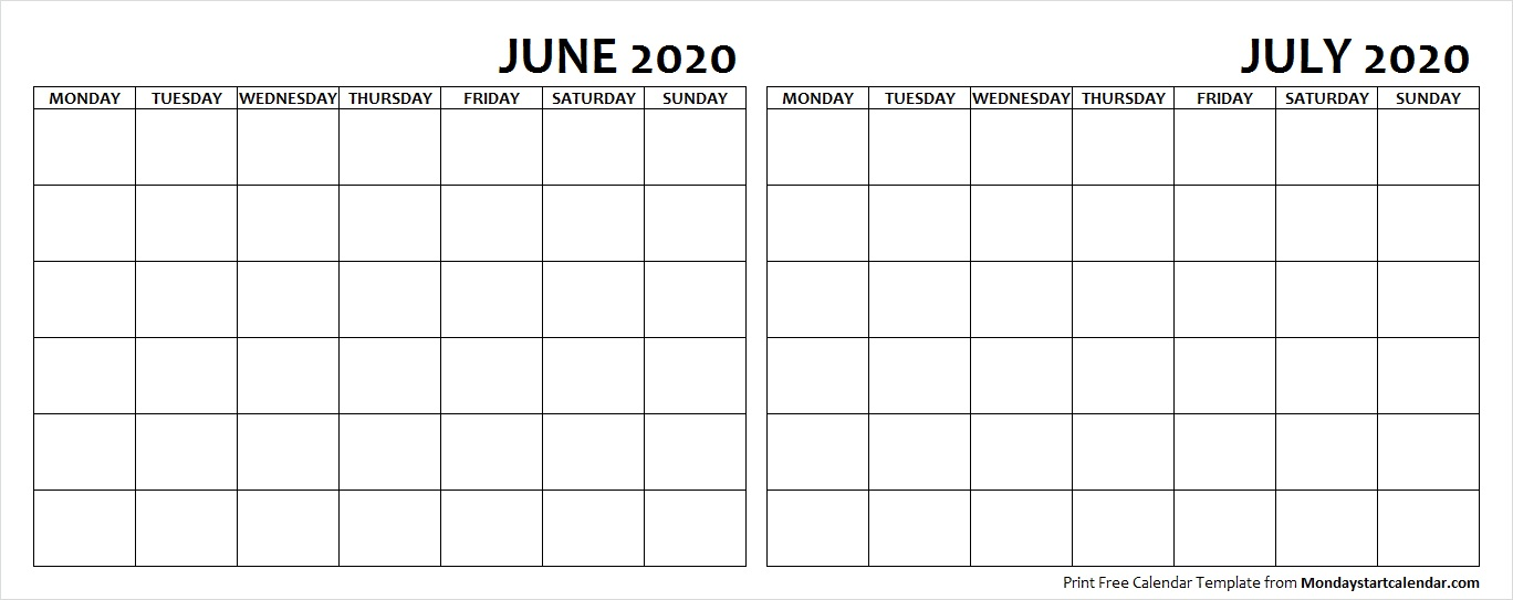 June and July 2020 Calendar Blank Printable