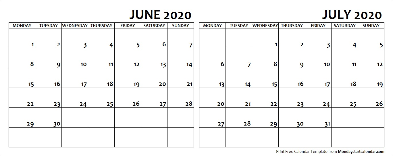 June and July 2020 Calendar Starting Monday