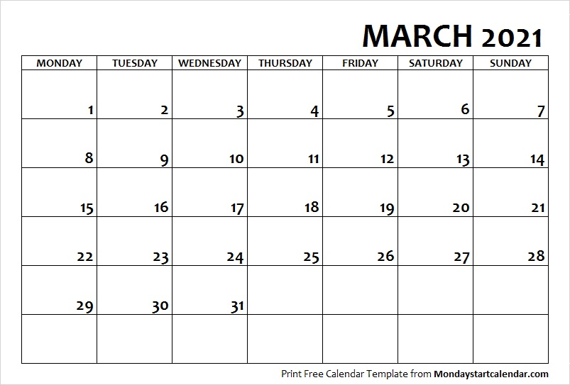 March 2021 Printable Calendar Template