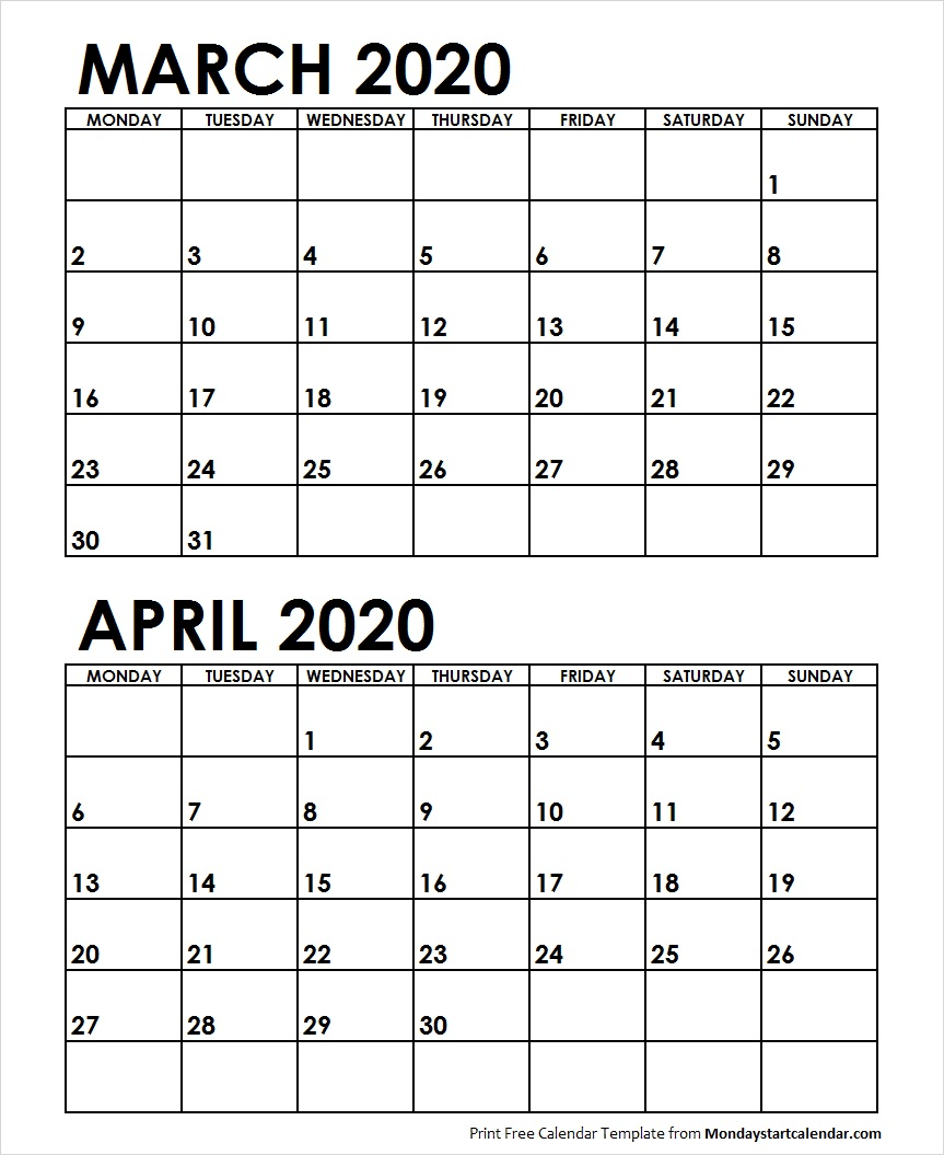 March April 2020 Calendar Monday Start