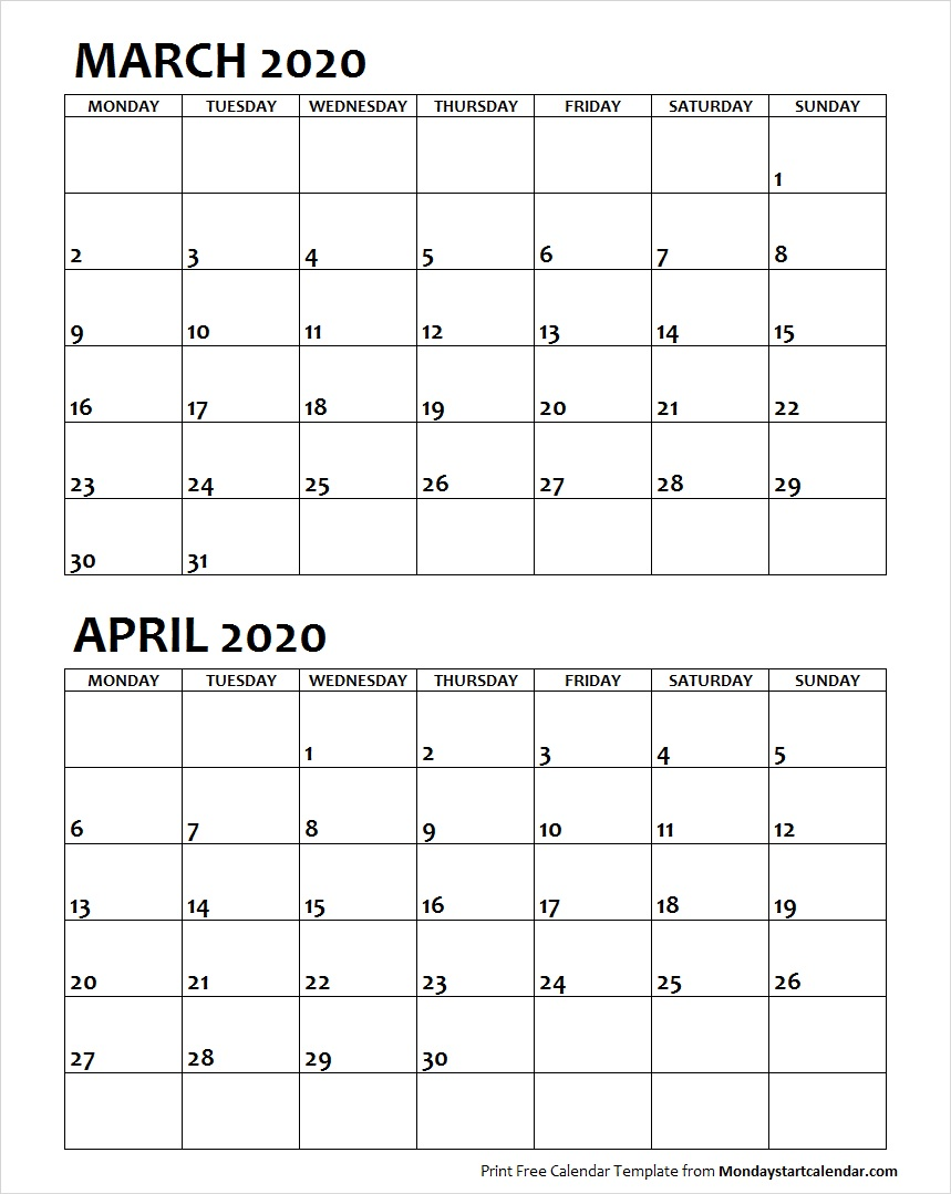 March and April 2020 Calendar Starting Monday