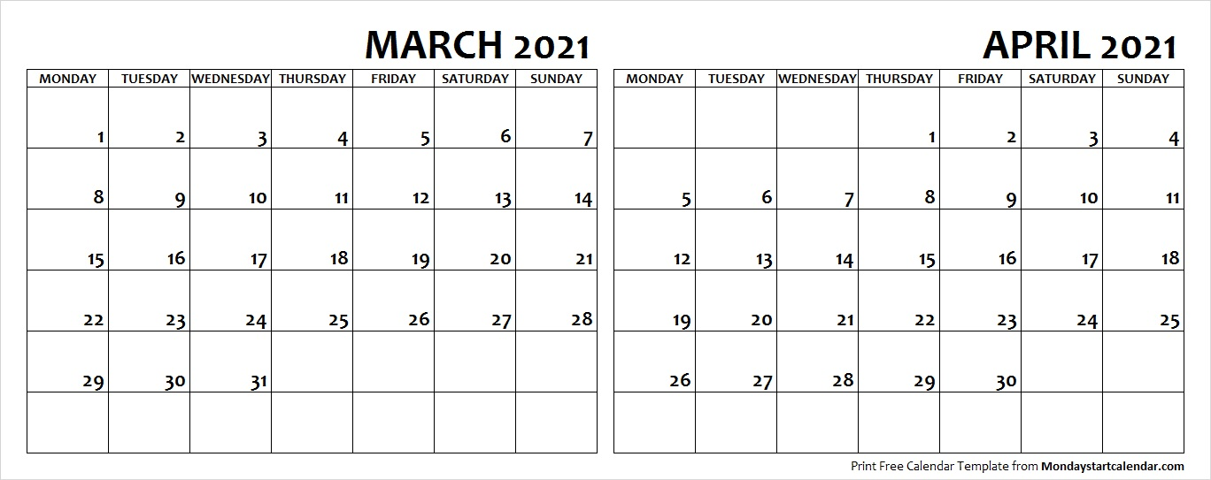 March And April Calendar 2021 March April 2021 Calendar Monday Start | Editable Two Months Template