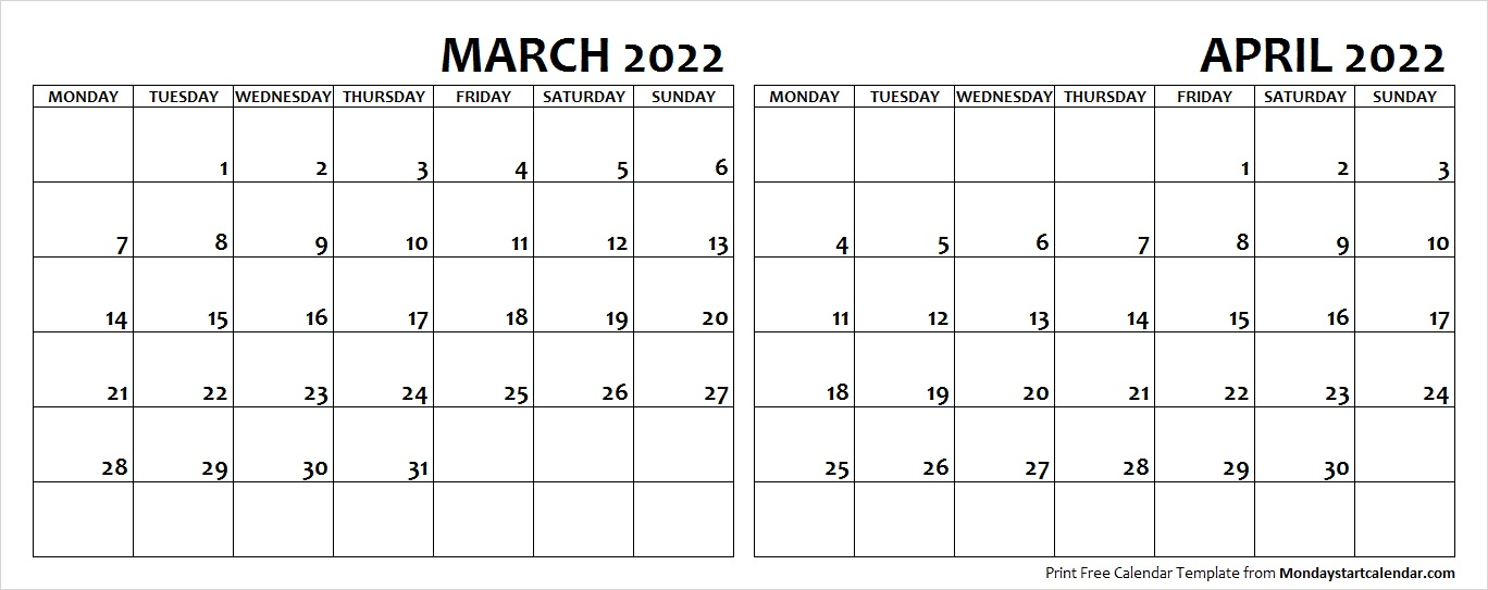 March April Calendar 2022.March April 2022 Calendar Monday Start Editable Two Months Template