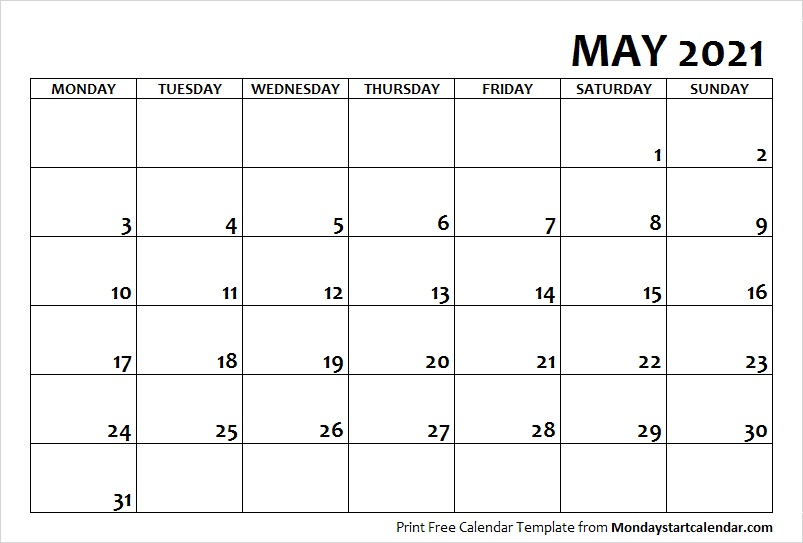 May 2021 Printable Calendar Template