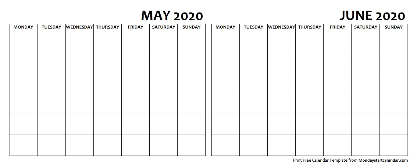 May and June 2020 Calendar Blank Printable