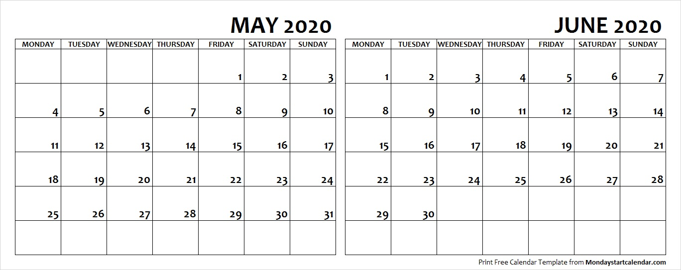 May and June 2020 Calendar Starting Monday
