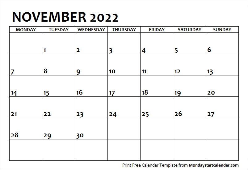 picture regarding 2022 Calendar Printable called November 2022 Calendar Monday Commence November Thirty day period Template