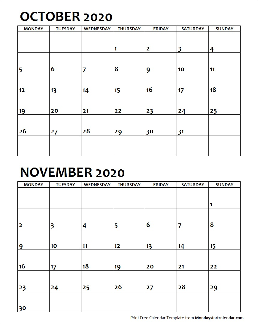 Oct Nov 2020 Calendar Monday Start