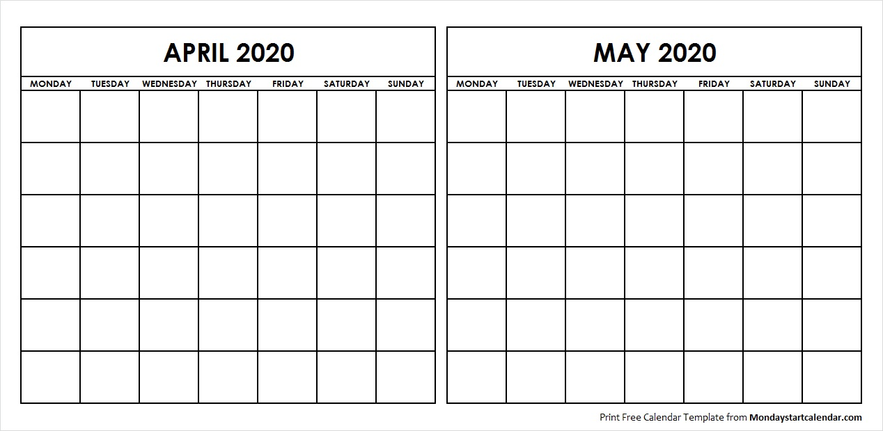 Printable April May 2020 Calendar Template Blank