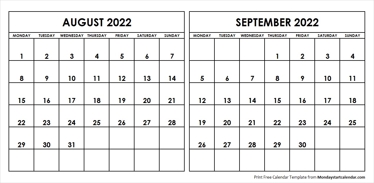 photograph about 2022 Calendar Printable referred to as Aug Sep 2022 Calendar Monday Begin Editable 2 Weeks