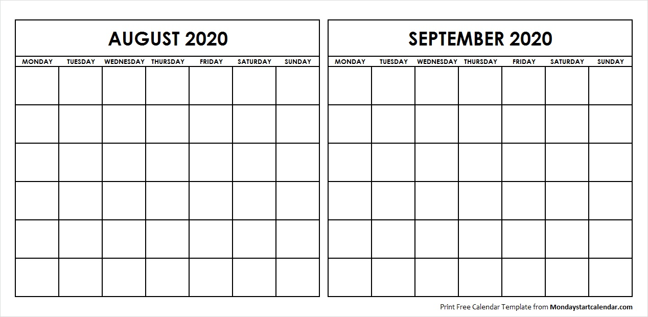 Printable August September 2020 Calendar Template Blank