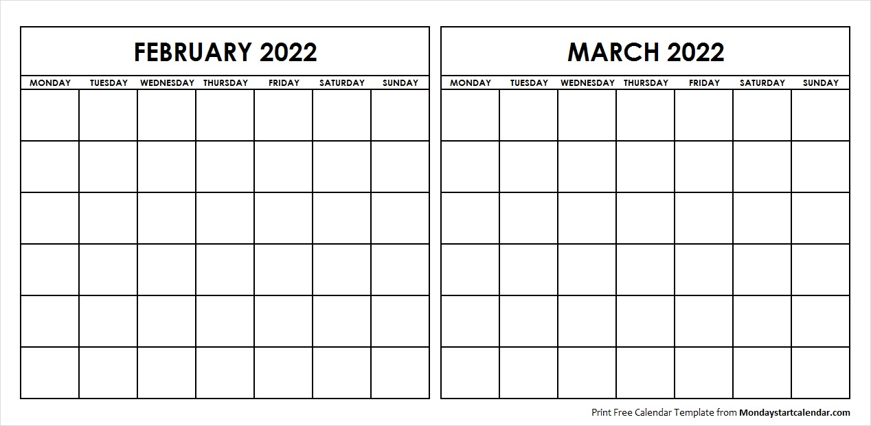 Two Month February March 2022 Calendar Blank