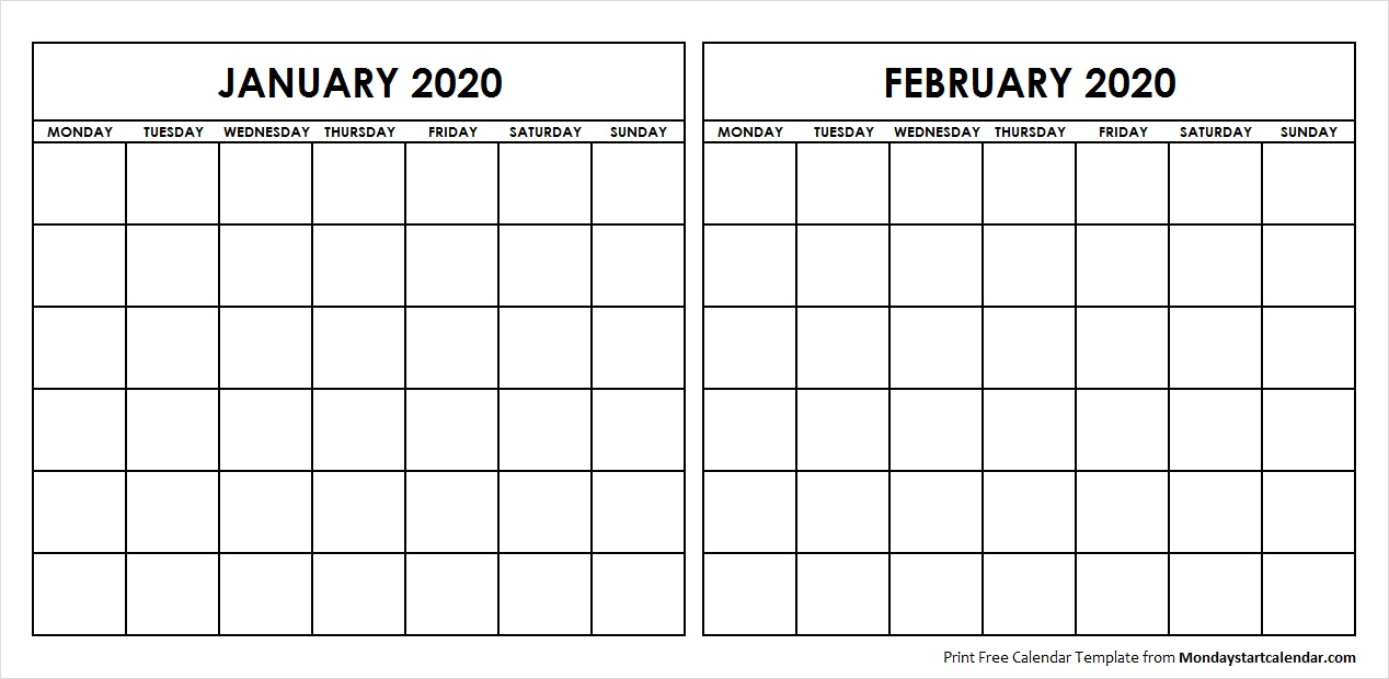 Printable January February 2020 Calendar Template Blank
