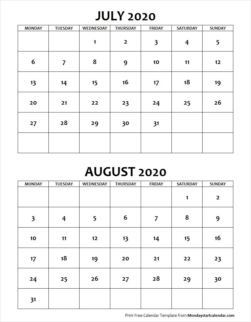 Printable Jul and Aug 2020 Calendar Template