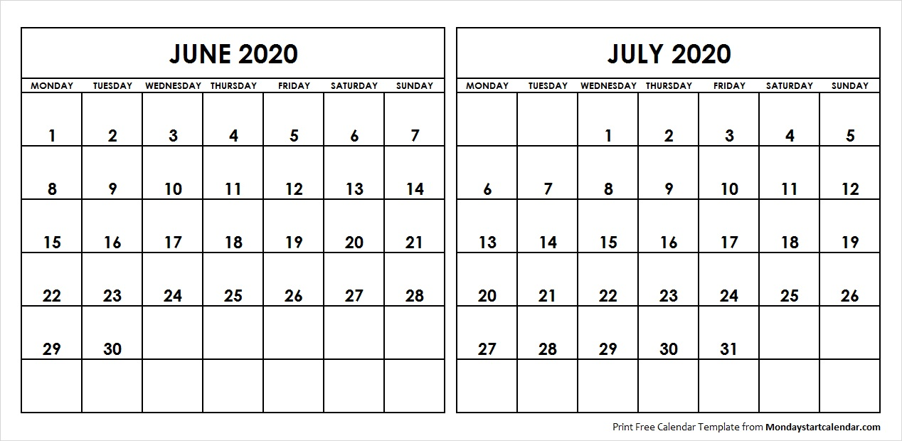 Printable Calendar July 2020.Blank June July 2020 Printable Calendar Archives Monday Start Calendar