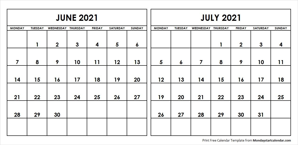 Blank June July 2021 Printable Calendar Archives   Monday Start