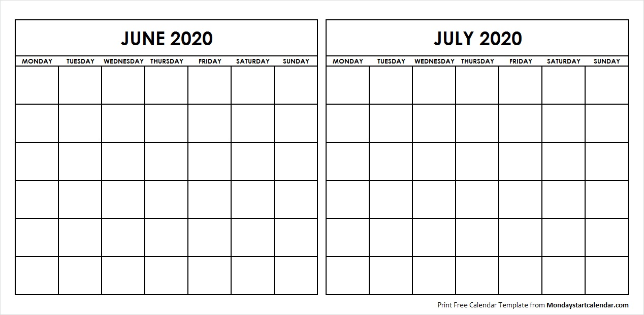 Two Month June July 2020 Calendar Blank Two Months Template