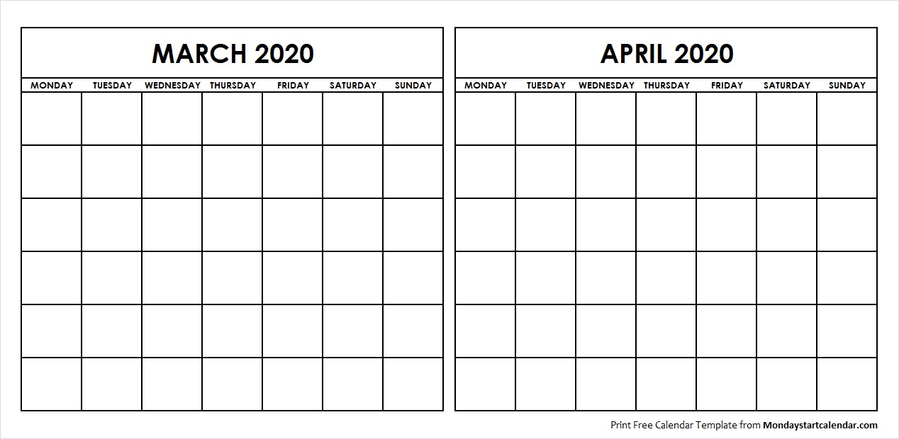 Printable March April 2020 Calendar Template Blank