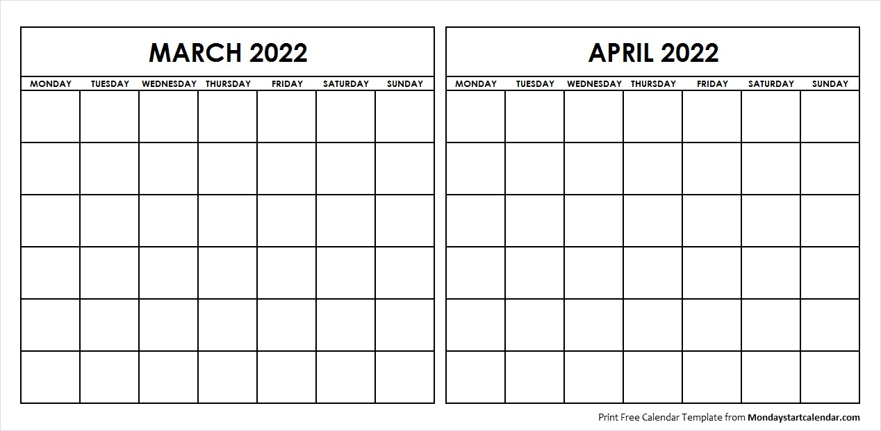 Printable March April 2022 Calendar Template Blank