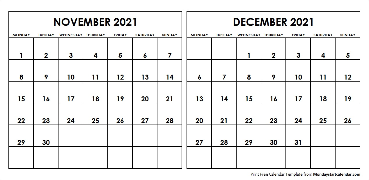 Nov Dec 2021 Calendar Monday Start | Editable Two Months Template