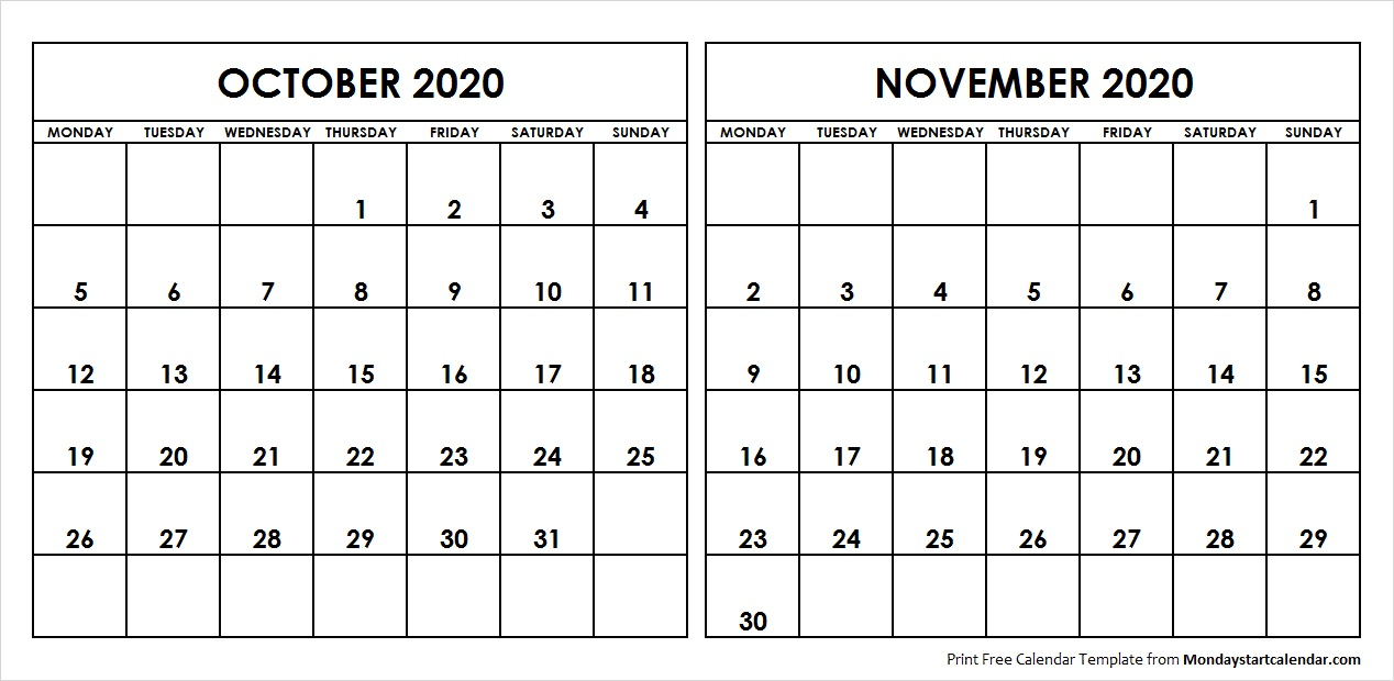 Printable Oct and Nov 2020 Calendar Template