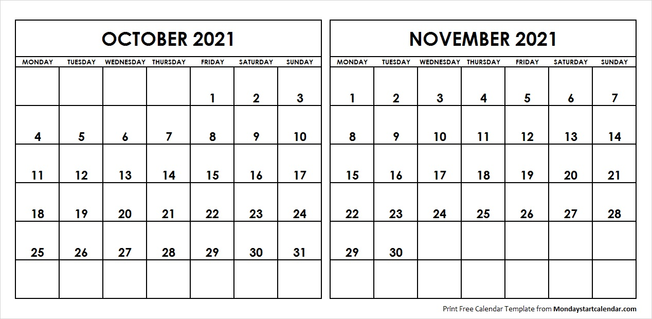 Printable Calendar October November 2021 Images