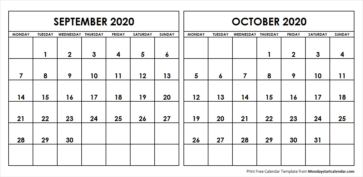 Printable Sep and Oct 2020 Calendar Template