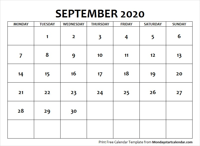 September Calendar 2020 with Notes
