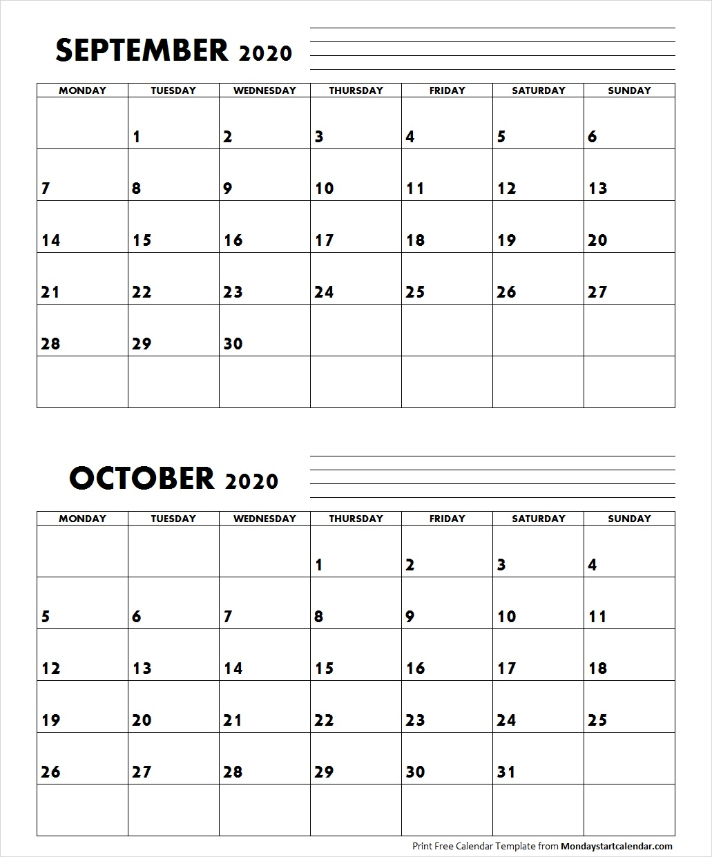 September October 2020 Calendar Monday Start