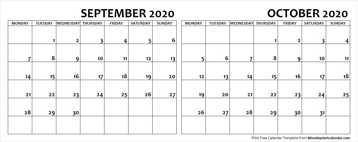 September and October 2020 Calendar Starting Monday