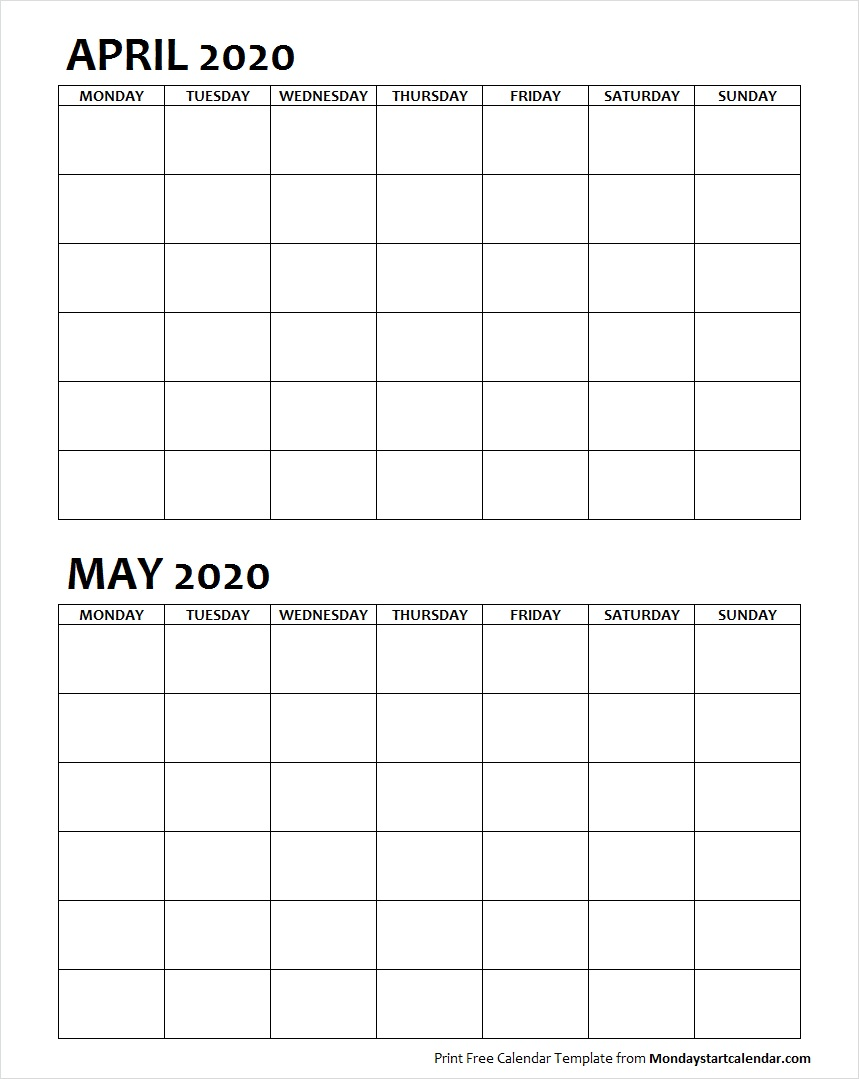 Two Month April May 2020 Calendar Blank