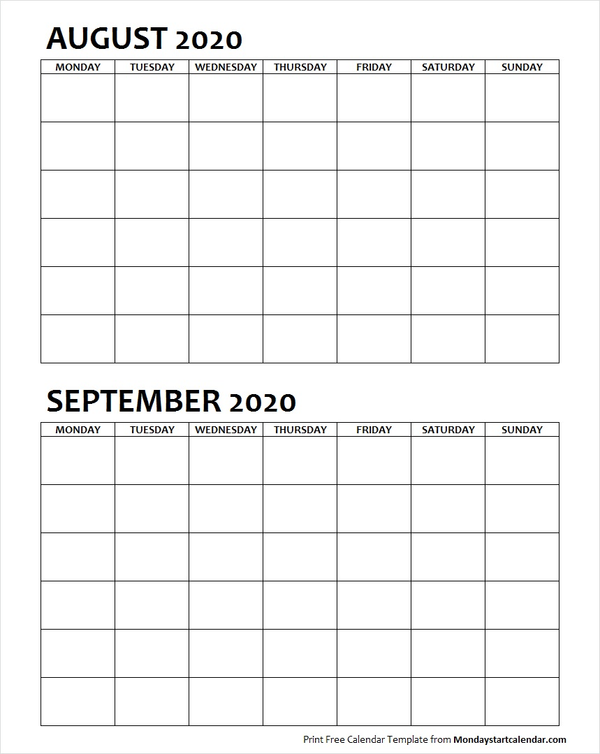 Two Month August September 2020 Calendar Blank