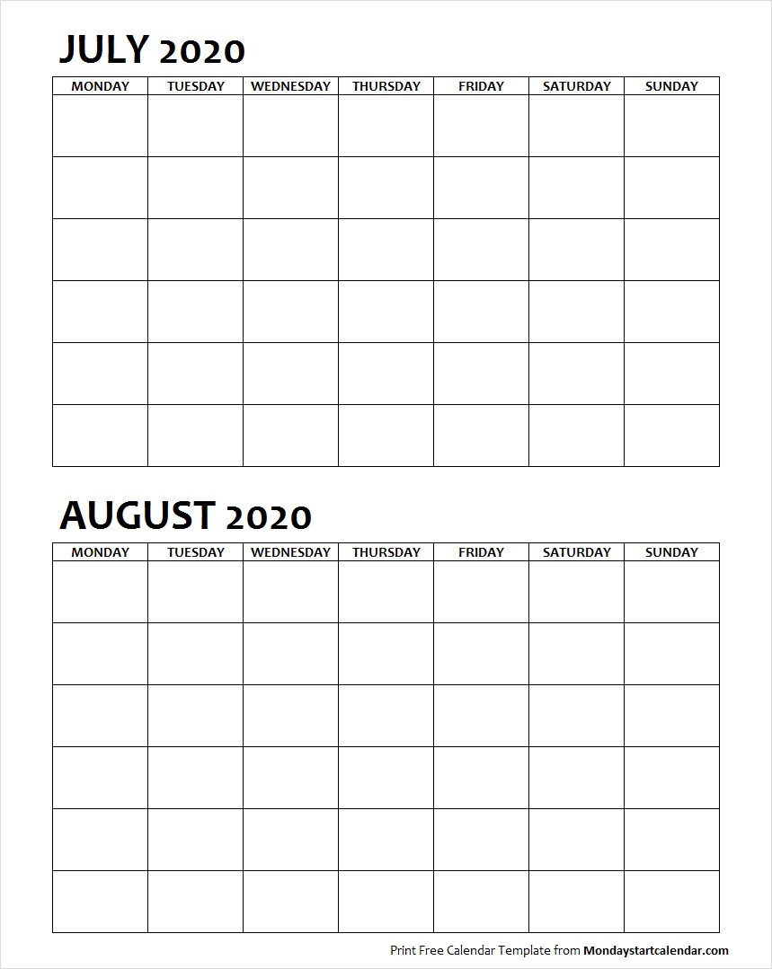 Two Month July August 2020 Calendar Blank