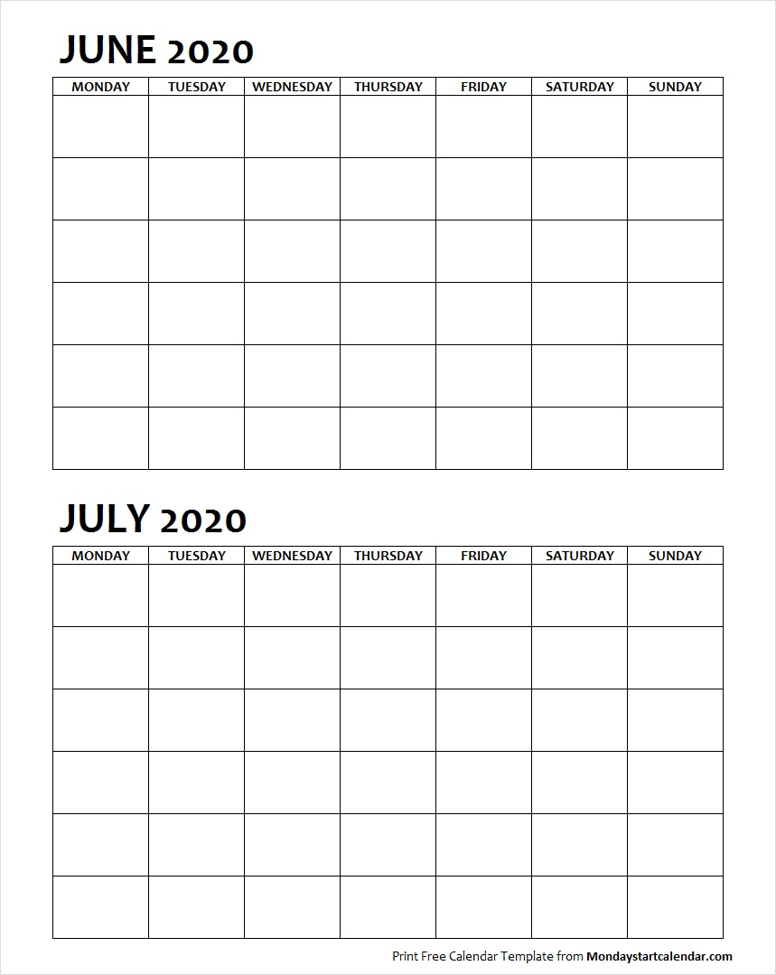 Two Month June July 2020 Calendar Blank