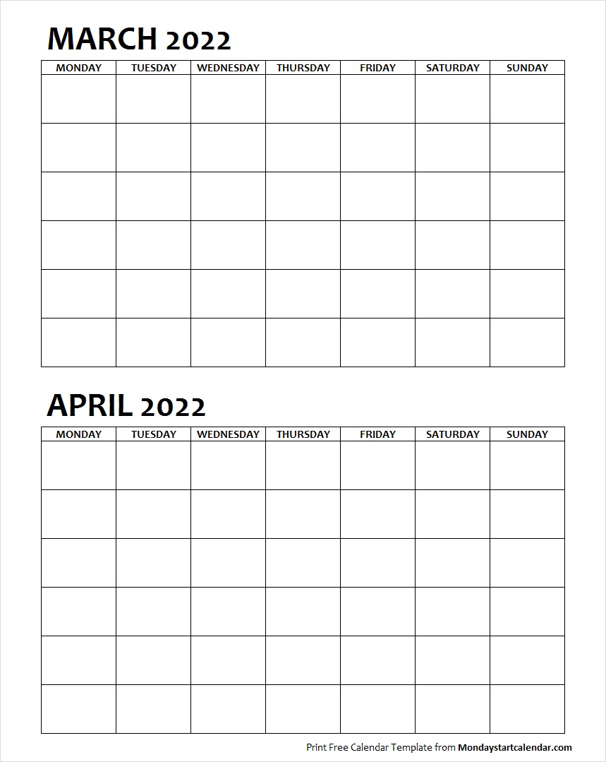 Two Month March April 2022 Calendar Blank
