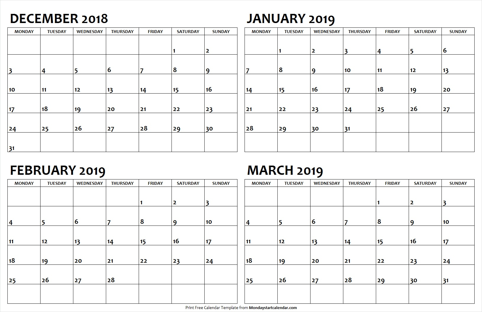 December 2018 January February March 2019 Calendar Template