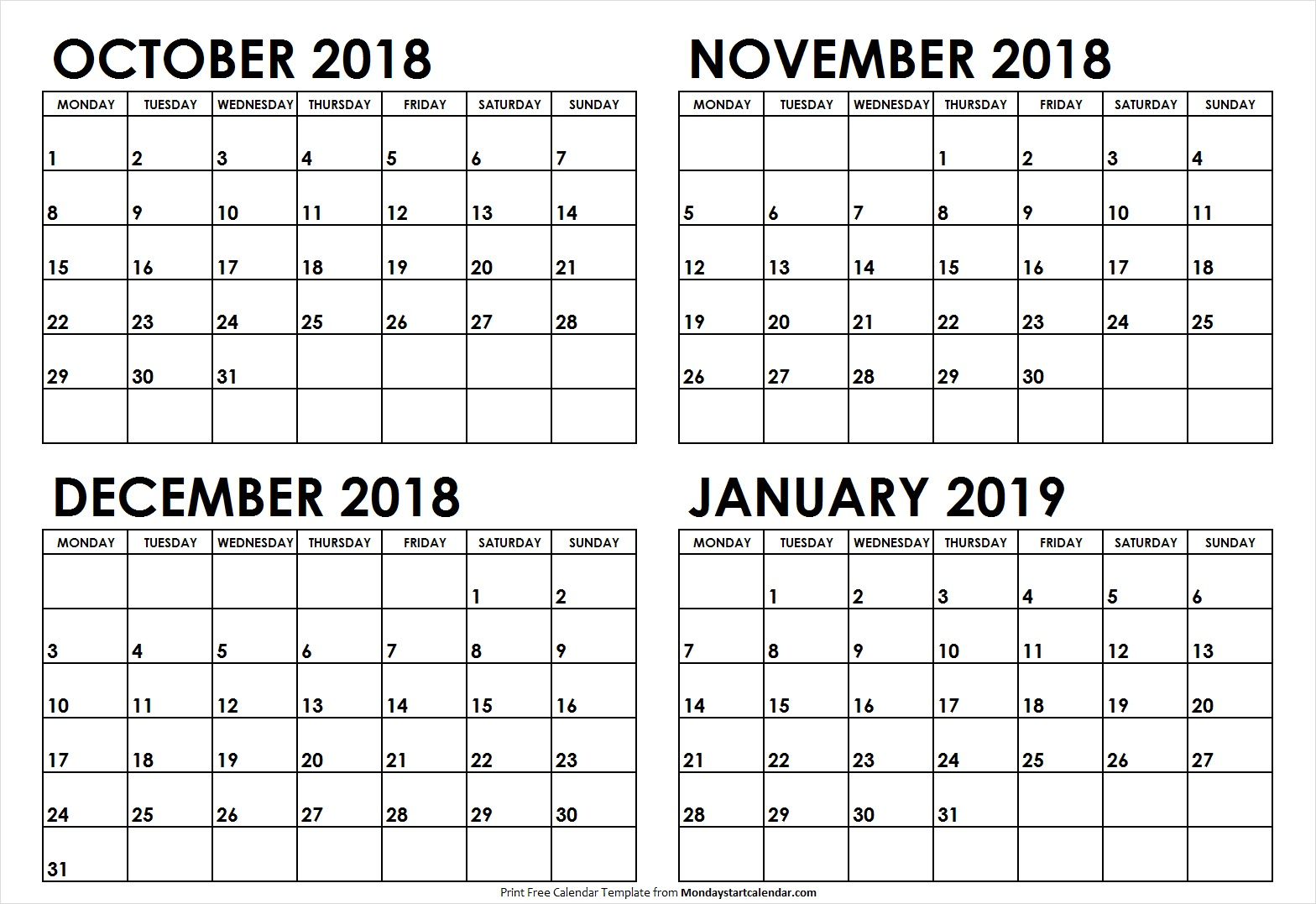 October November December 2018 January 2019 Calendar Example