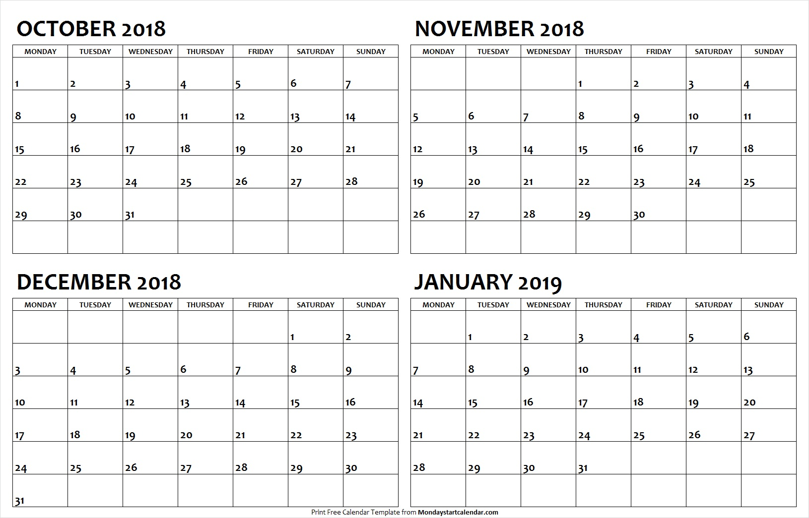 October November December 2018 January 2019 Calendar Printable