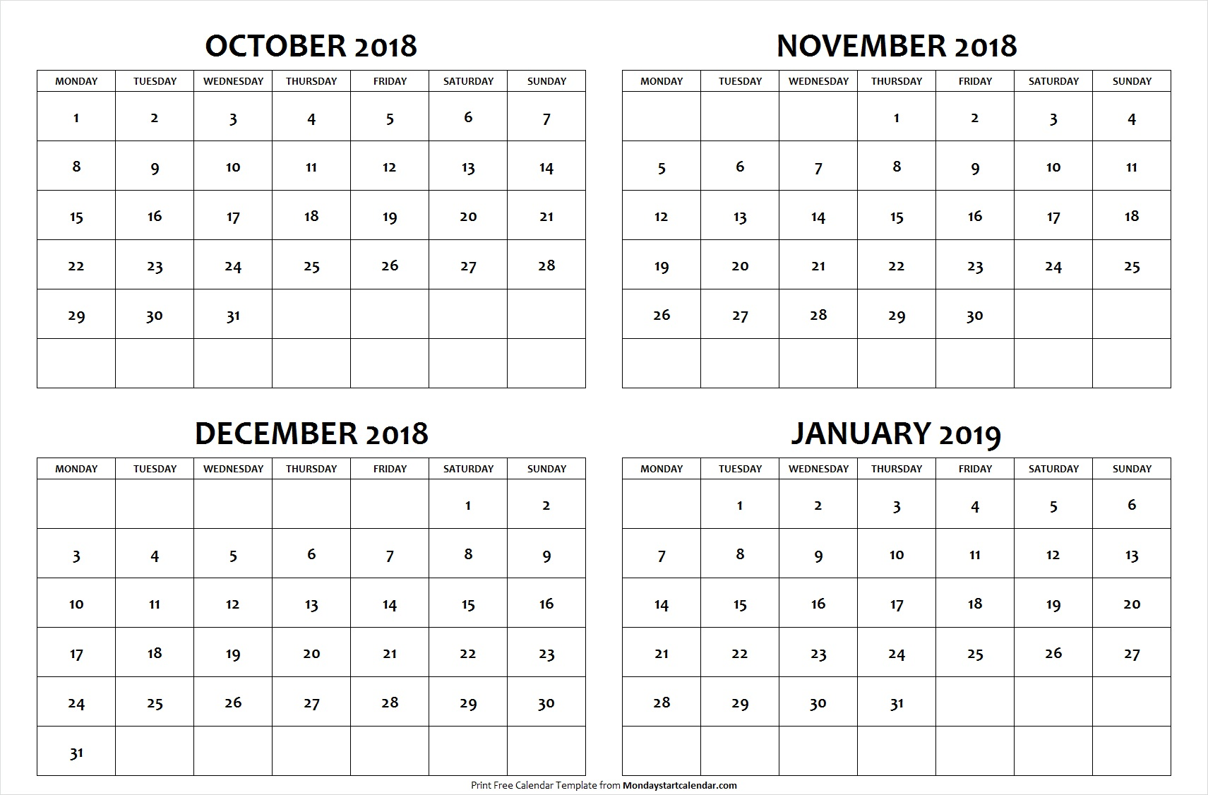 October November December 2018 January 2019 Calendar Template