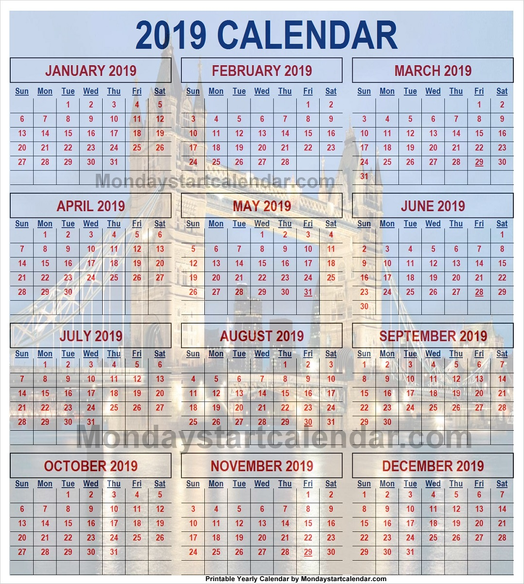 year calendar 2019 united kingdom