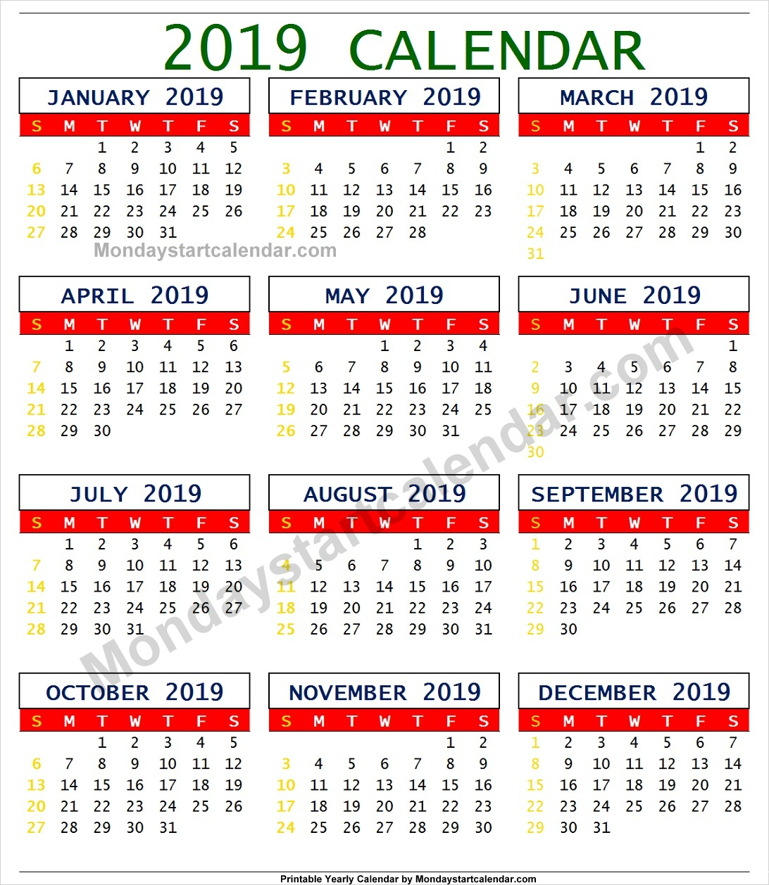 south africa 2019 calendar with holidays