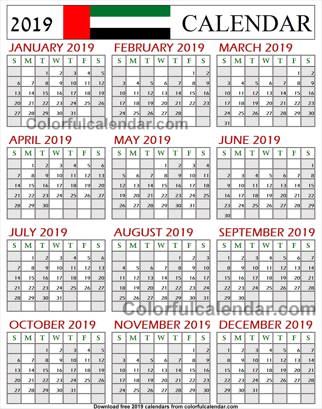Uae Calendar 2019 With Holidays Editable 2019 Yearly Template