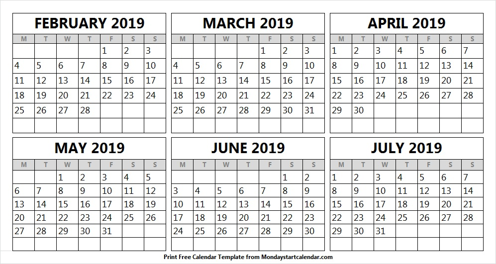 February March April and May 2019 Calendar Free May 2019 Calendar