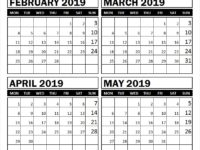 February March April and May 2019 Printable Calendar