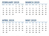 Calendar 2019 Feb to May Month