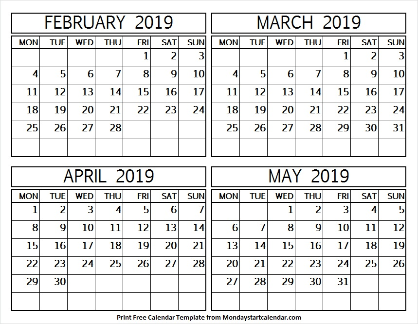February to May 2019 Printable Template