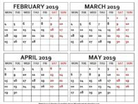 February to May 2019 Four Month Calendar