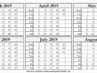 Calendar March to August 2019