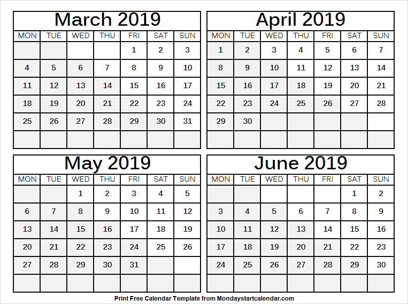 image relating to 4 Month Printable Calendar called 4 Thirty day period Calendar March June 2019 4 Weeks Calendar